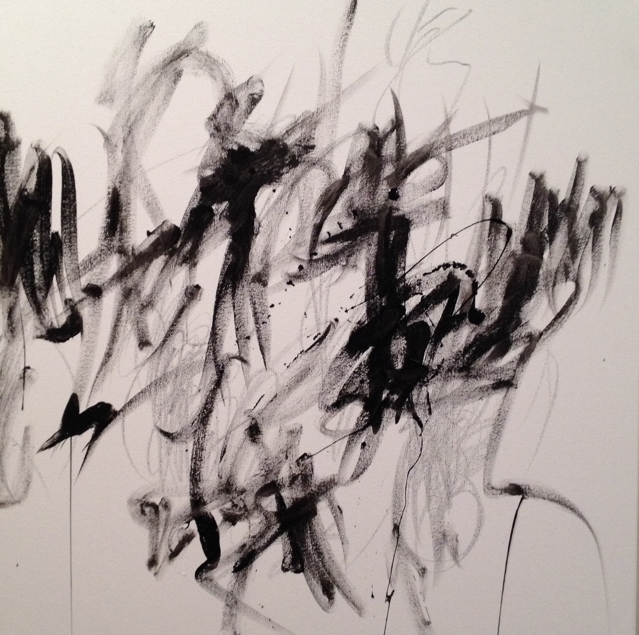 """Start of a new abstract on a 24""""x24"""" deep sided canvas."""